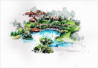 效果图 园林/建筑手绘马克笔表现效果图...