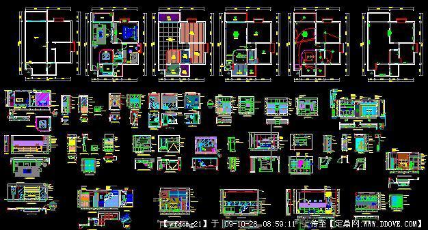 整套别墅室内装饰CAD施工图cad上1比例80图纸图片