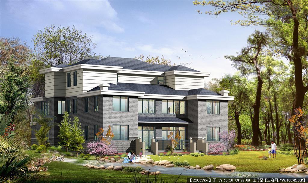 别墅建筑设计效果图 全套施工图