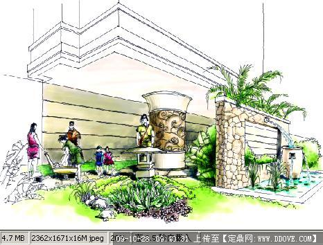 庭院景观方案手绘效果图