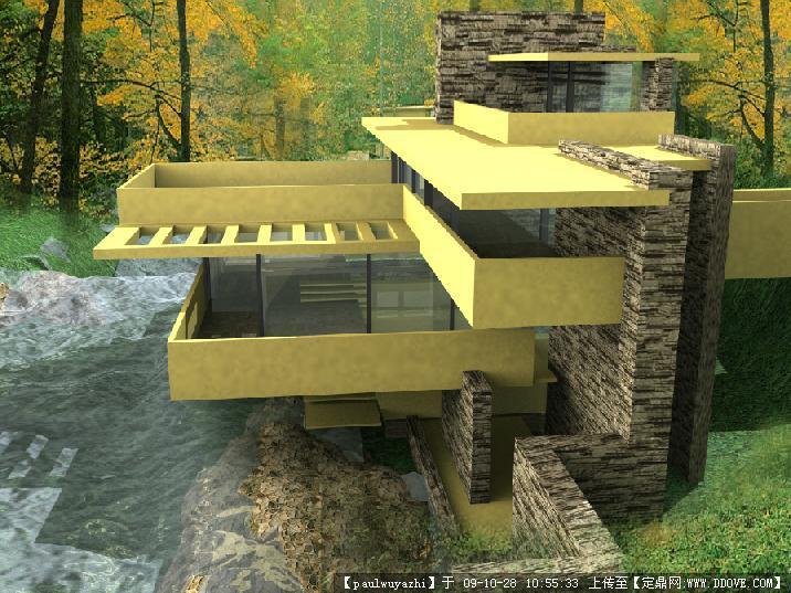 赖特大师流水别墅3dmax模型渲染带效果图分析