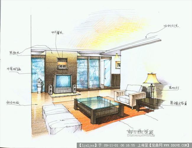 建筑室内装饰设计手绘效果图
