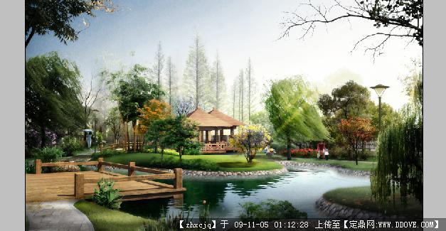 小游园景观双亭木平台效果图