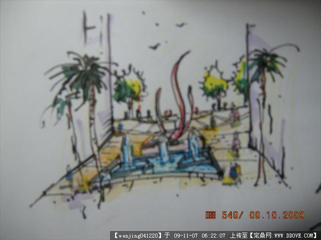 步行街手绘效果图的图片浏览,园林项目案例,商业街区,园林景观设计