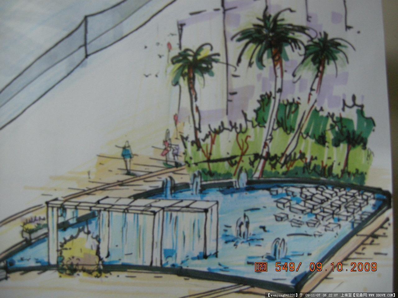 步行街手绘效果图的图片浏览,园林项目案例,商业街区