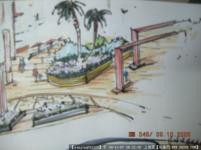 步行街手绘效果图