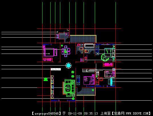 三室二厅家装室内装饰方案全套cad施工图