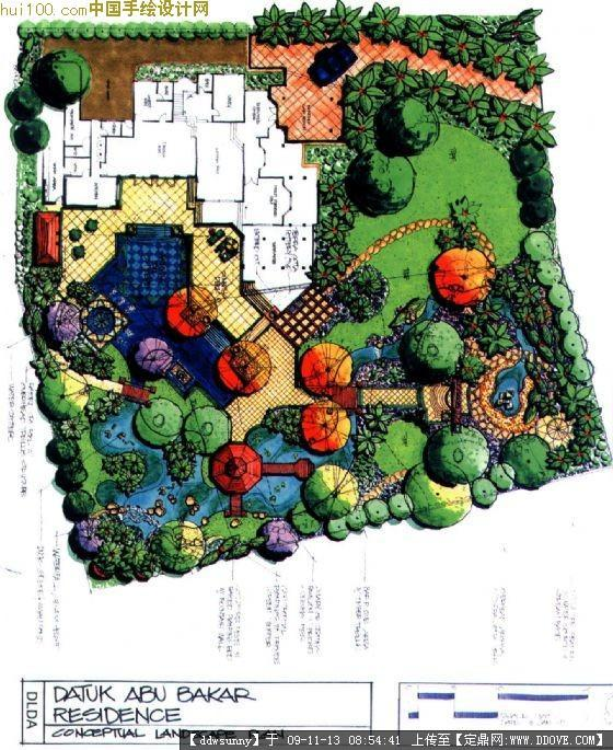 别墅庭院总平手绘图
