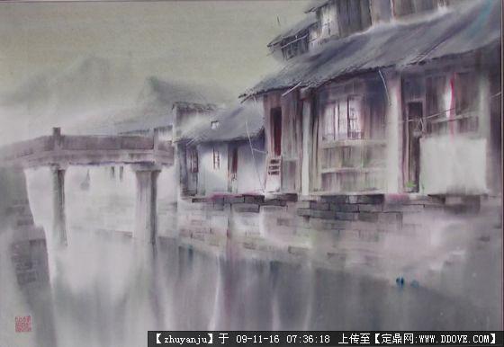 绝美风景图片-江南水乡手绘效果两张