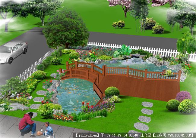 小鱼池设计图 室外假山鱼池效果图 室外鱼池设计图图片