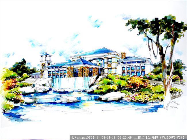 别墅手绘效果图作品的图片浏览,建筑效 果图,手绘建筑