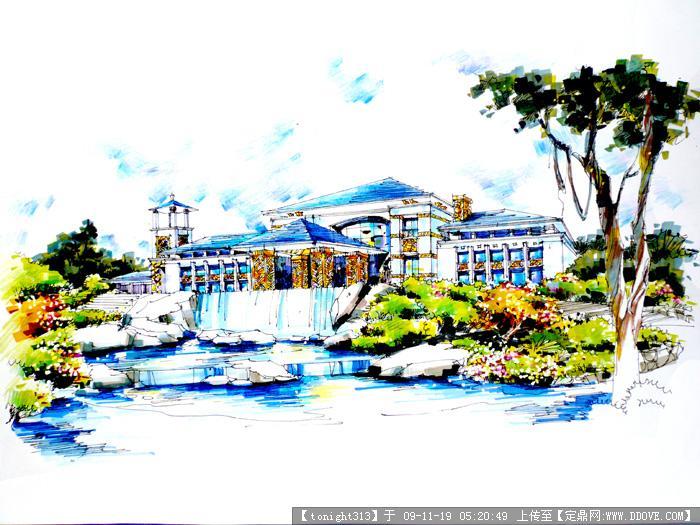 别墅手绘效果图作品