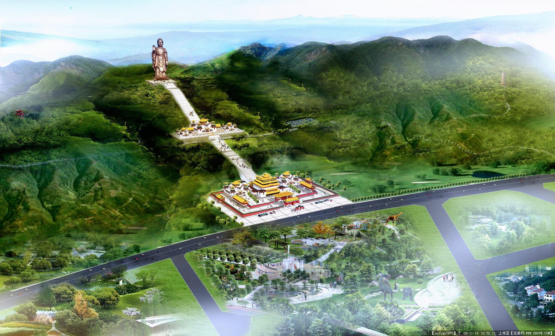 大佛寺公园鸟瞰图的图片浏览,园林效 果图,旅游景区,园林景观设计
