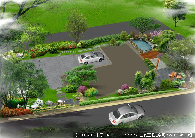 别墅庭院绿化鸟瞰效果图一张
