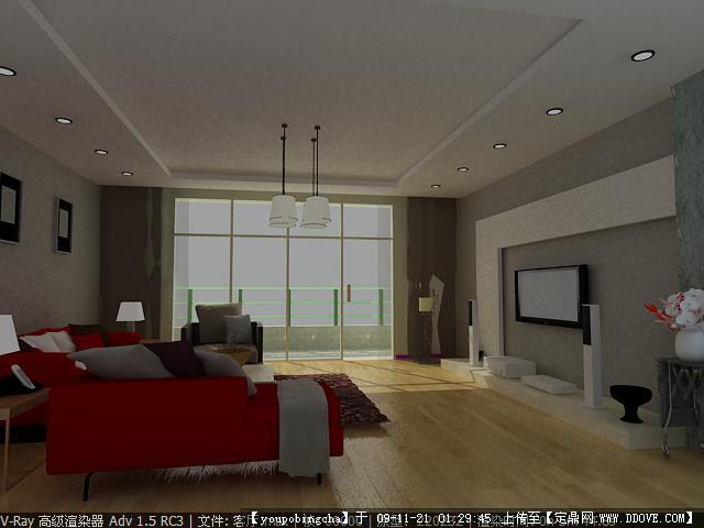 客厅室内装饰效果图+3dmax模型