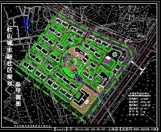 区景观绿化方案CAD总平面图图片
