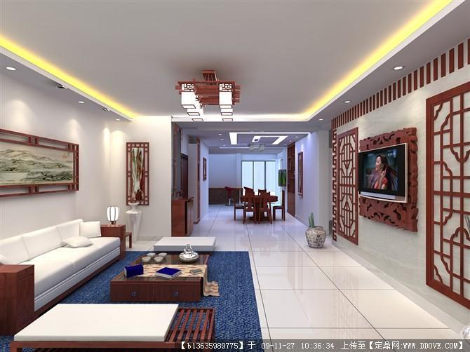 中式住宅室内装修整套cad加效果图