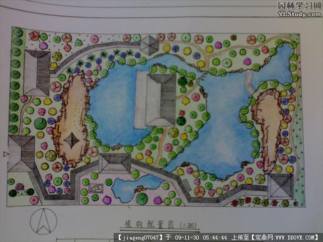 某建筑庭院植物配置手绘图