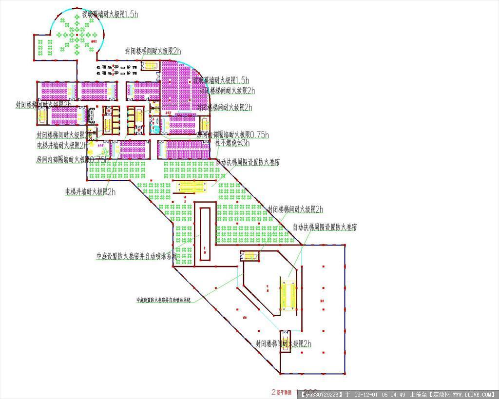 高层综合楼建筑设计兼安全与防灾设计(二合一cad图)