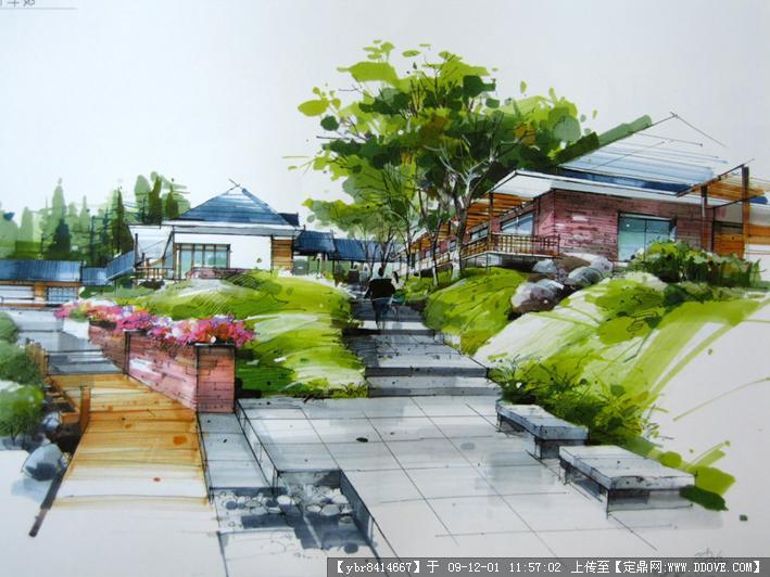 定鼎网 定鼎园林 园林效 果图 公园景观 非常经典的公园马克笔效果图