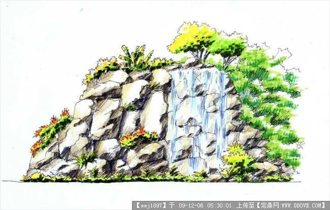 假山瀑布手绘效果图1张