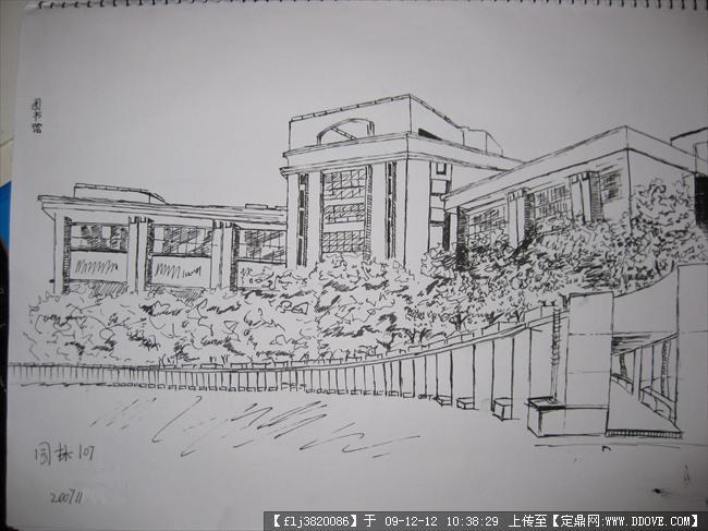 校园建筑手绘的图片浏览