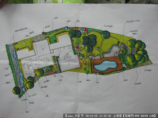 景观别墅手绘总平平方别墅效果图90图片