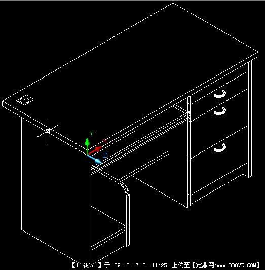 电脑桌CAD三维图cad砖墙表示图片