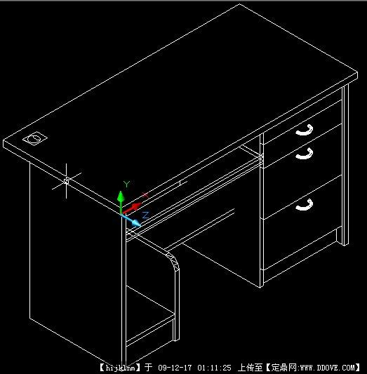 电脑桌cad三维图