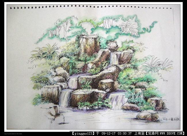 景观小景手绘的图片浏览,园林效 果图,手绘效果,园林