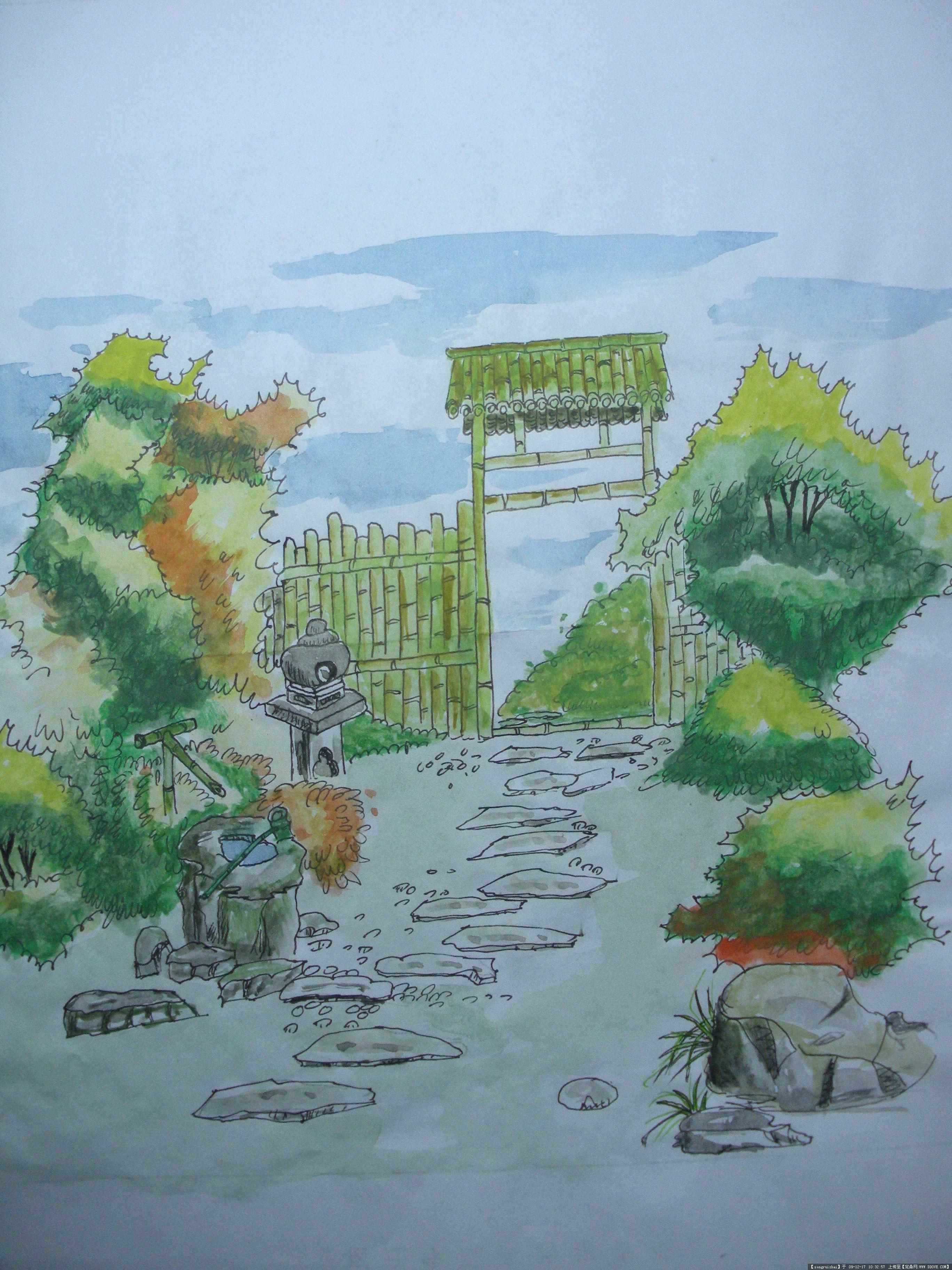 手绘小景5张的图片浏览,园林效 果图,手绘效果,园林_.