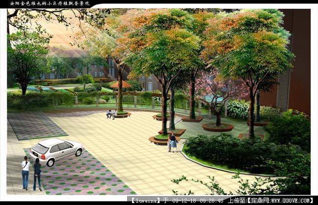 休闲小�_某居住区休闲小广场效果图一张