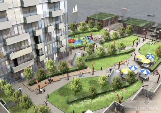 广场景观设计方案手绘效果图 居住区设计规范 城市入口交通岛绿化效果