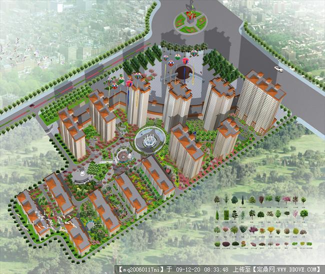 定鼎网 定鼎园林 园林方案设计 居住区 欧式小区鸟瞰效果图  序号