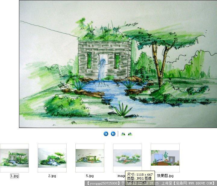 某屋顶花园设计手绘方案;;