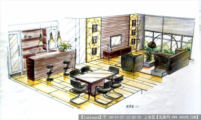 150平米室内快题设计-手绘效果图