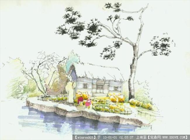 景观手绘节点2的图片浏览,园林效 果图,手绘效果,园林