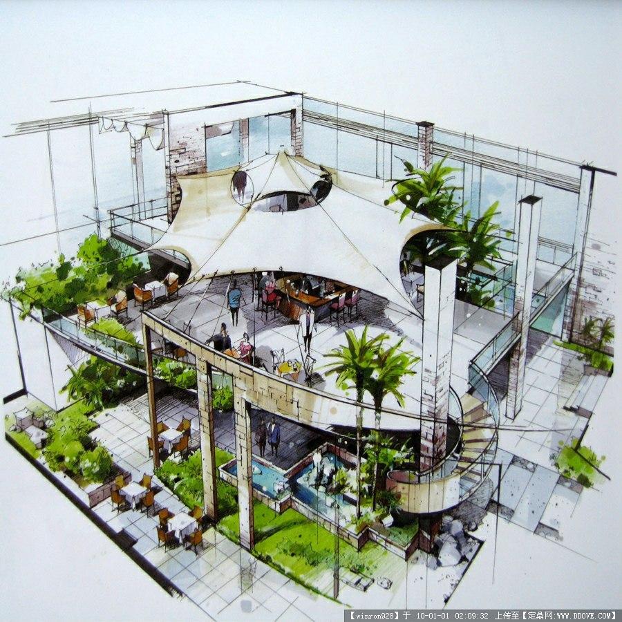 建筑室内景观手绘(马克笔+钢笔)