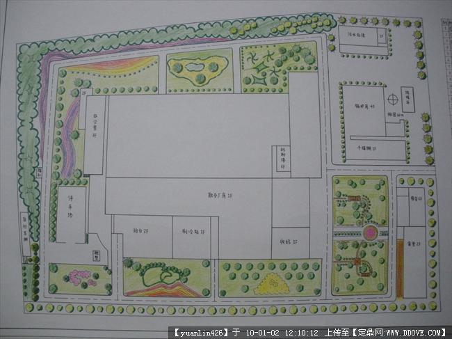 某某大学校园内道路绿化设计手绘方案