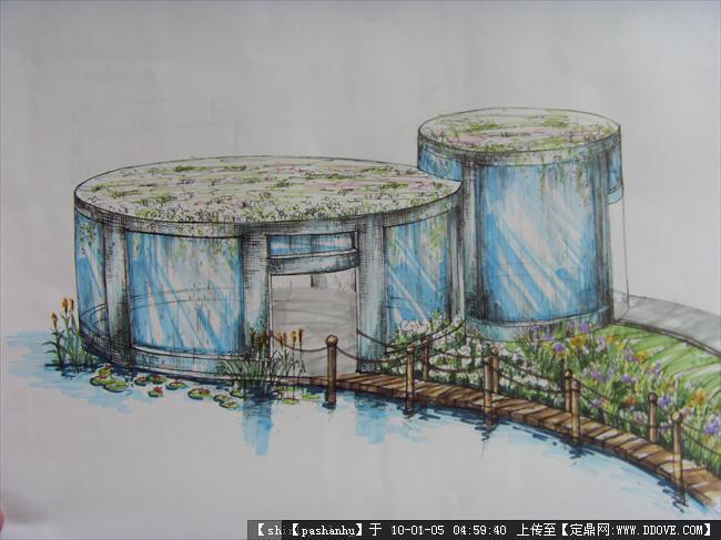 园林建筑小品手绘一张