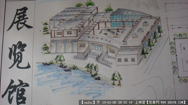 小 展览馆设计 手绘图纸6张的下载地址