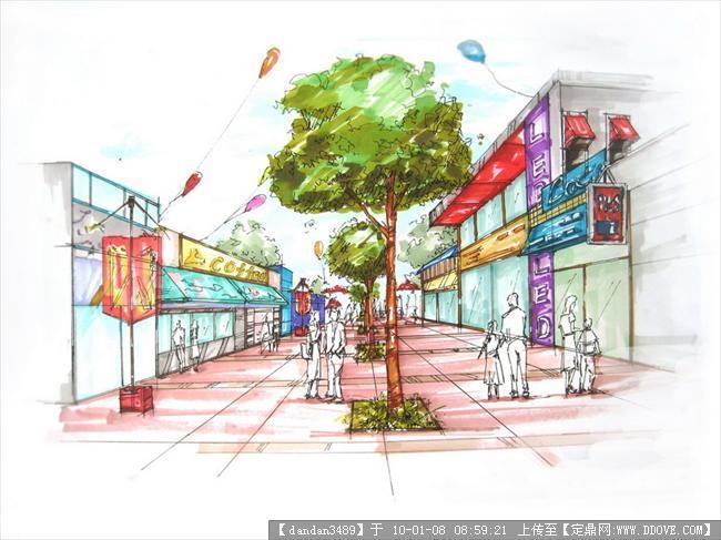 商业街手绘