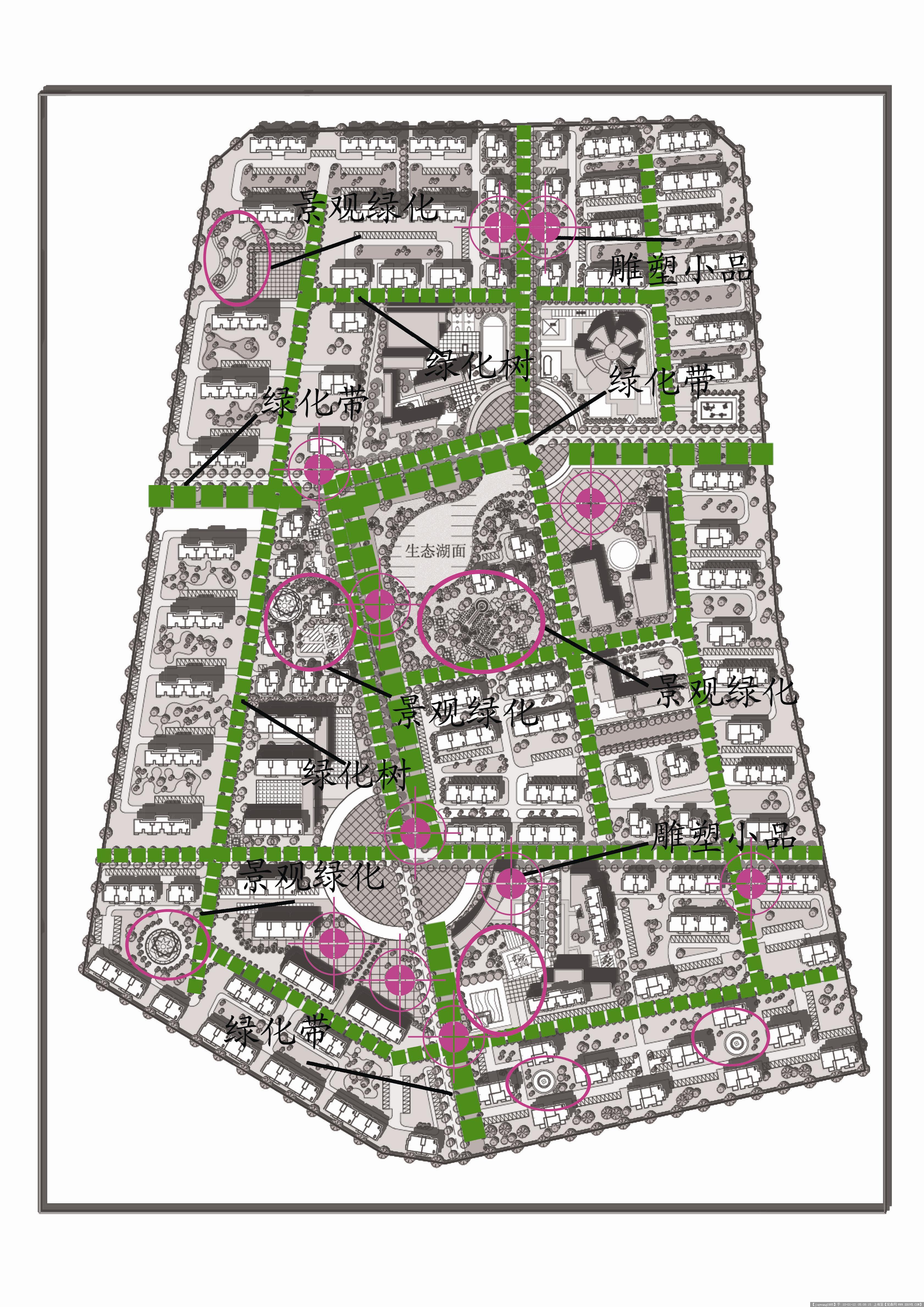 青岛某小区规划-绿化景观分析副本