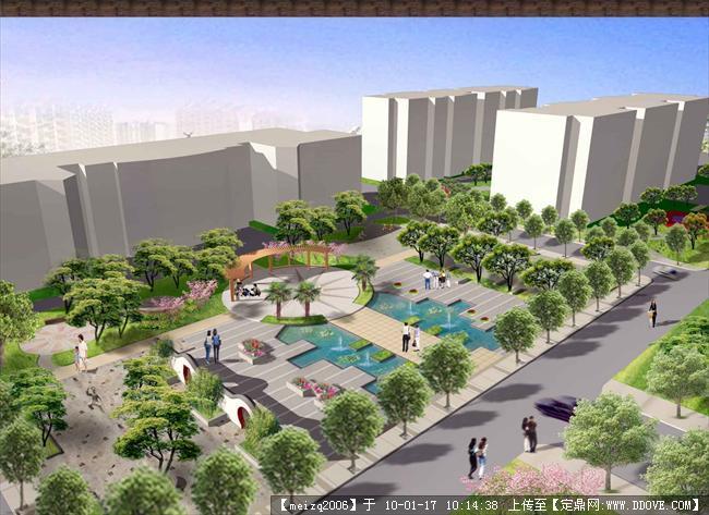 居住区景观设计-小区中心广场鸟瞰效果图副本.jpg