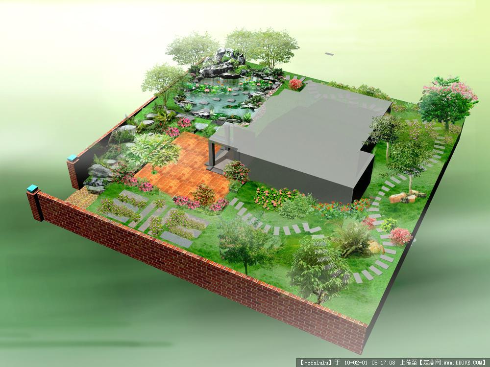 花园庭院,园林景观设计施;