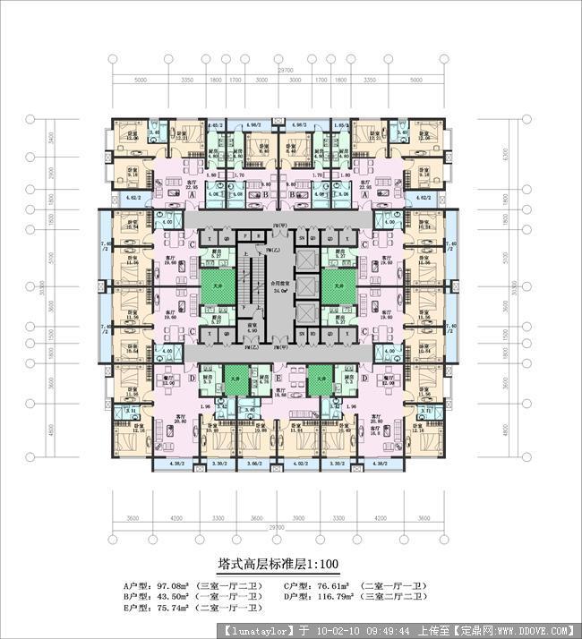 塔式高层住宅平面图图片