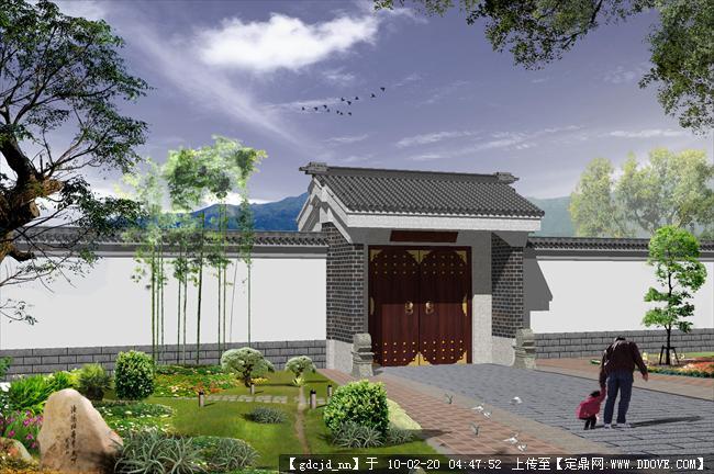 中式大门带围墙效果图