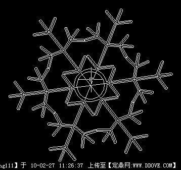 雪花的畫; 雪花cad圖案; cad破折符號;