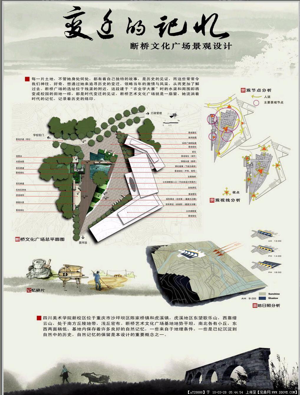文化广场建筑景观设计展板3张