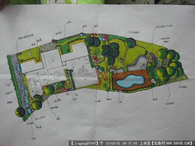 某别墅庭院手绘平面方案的下载地址